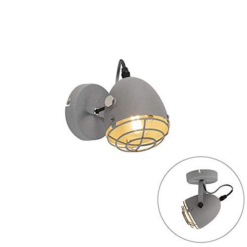 QAZQA Industriële verstelbare spot grijs beton 1-lichts - Rebus Staal Cilinder Geschikt voor LED Max. 1 x 25 Watt