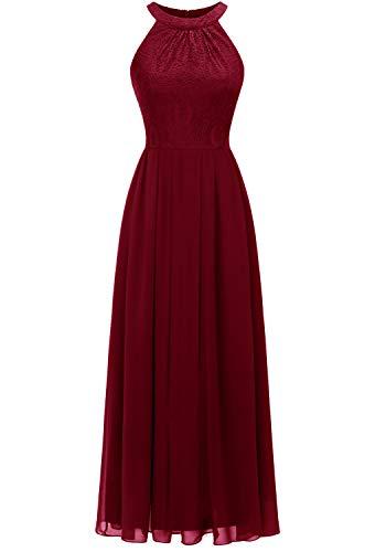 Dressystar 0040 Damen Maxi Lang Abendkleider Elegant Spitzen Ballkleid Ärmellos Hochzeit Tiefrot S