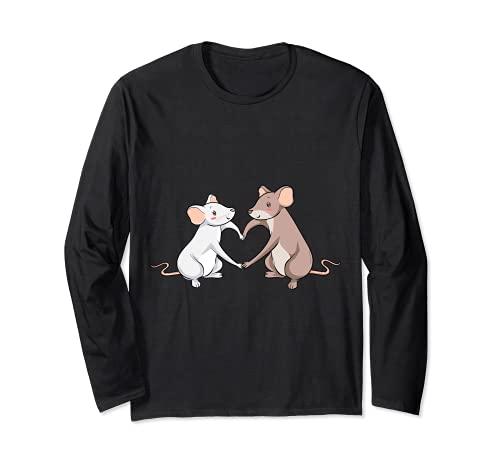 Rat Love Heart I Cool Rats Re e Mouse Motivo Maglia a Manica