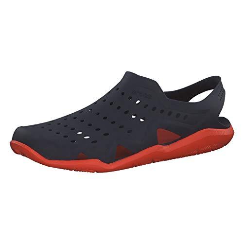 Crocs Men's Flat Closed Toe Sandals, Blue Navy Tangerine 4v9, 7