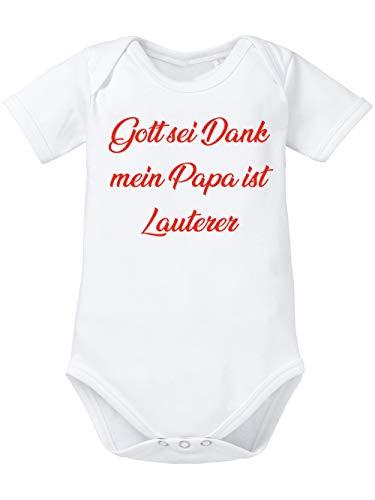 clothinx Gott Sei Dank, Mein Papa ist Lauterer, Lustiges Fussballmotiv Baby Body Bio Weiß Gr. 50-56