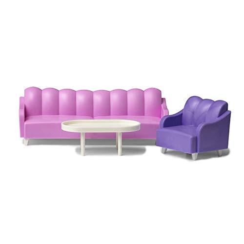 Lundby 60-305400 - Wohnzimmer Möbel Puppenhaus - Möbelset 3-teilig - Puppenhauszubehör - Möbel - Sofa, Couch, Sessel, Sofatisch - Sitzgruppe - Zubehör - ab 4 Jahre - 11 cm Puppen - Minipuppen 1:18