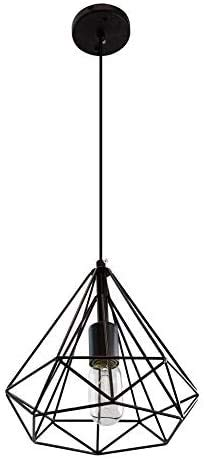 JSXing Luminaria colgante de una luz, The Nordic Modern Retro Industrial Jaula de pájaros de metal Lámpara colgante de techo con...