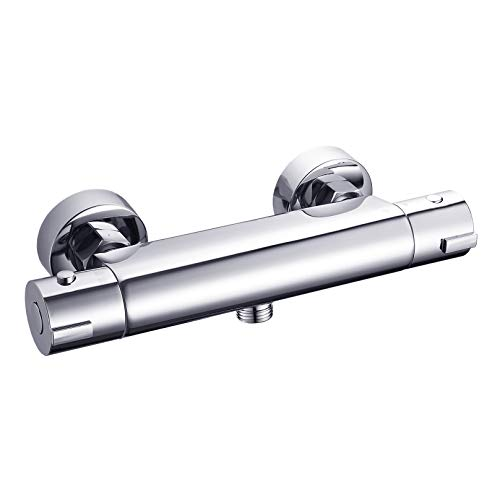 2-Handle Thermostatic Shower Valve Trim Wall mount US STANDARD Plumbing, Exposed Shower Faucet with Constant Temperature water mixer for Bathroom, RV, Clawfoot Tub