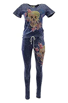 Crazily Fashion Women's Cotton Jersey Crystal Embellished Floral Skull Luxe Lounger Active Tracksuit Set
