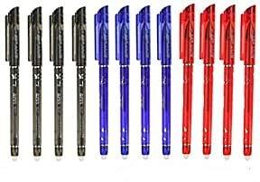 RHardware 12 bolígrafos de tinta negra, roja, azul, borrable de gel, 0,5mm papelería escolar
