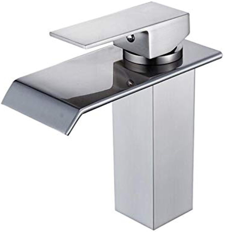 BBQBQ Pure copper bathroom washbasin washbasin nickel brushed matt single hole faucet hot cold faucet