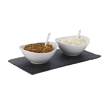 Maxwell and Williams Basics Slate 5-Piece Rectangular Dipping Set, White