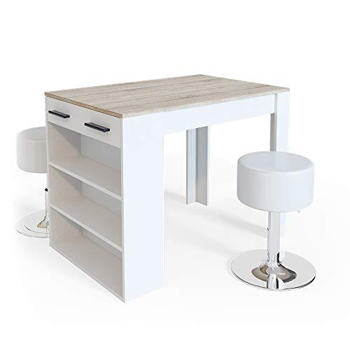 Vicco Bartisch Esstisch Tisch Bistrotisch Essplatz Schublade Regal Bar Weiß wahlweise mit Barhocker (Weiß-Sonoma mit Barhocker)