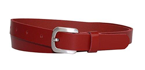 Vascavi Ledergürtel echt Leder Gürtel, Jeansgürtel, Hüftgürtel, Made in Germany, 2 cm breit und ca. 0.25 cm stark (90 cm Gesamtlänge 100 cm, Rot)