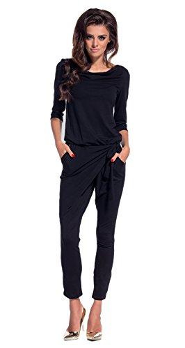 Lemoniade eleganter Jumpsuit mit 3/4-Ärmel und elegantem Wasserfallkragen, schwarz, Gr. M