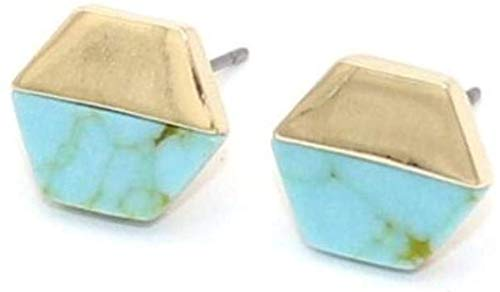 Gymqian Drop Earrings Hexagon White Green Marble Natural Stone Stud Earrings Gold Color Pendientes Jewelry for Women Green Turquoise Fashion/Green Turquoise