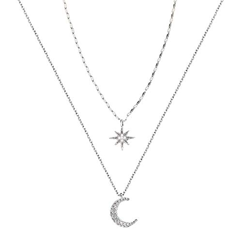 Women Necklace 925 Sterling Silver, Double Star Moon Pendant Necklaces Women Jewellery, Cubic Zirconia Clavicle Chain Gifts for Wife Mum Friend Birthday Anniversary Day
