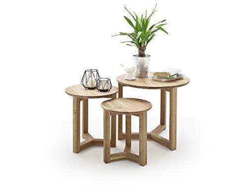 Möbel-Store24 Couchtisch Tisch 3er Set Tische Asteiche massiv geölt 50 cm Fayes M58109AE9