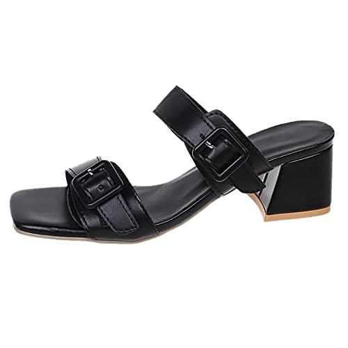 URIBAKY - Pantuflas de color liso para mujer, sandalias de gran tamaño, sandalias con hebilla de cinturón de punta abierta, Negro (Negro ), 38 EU