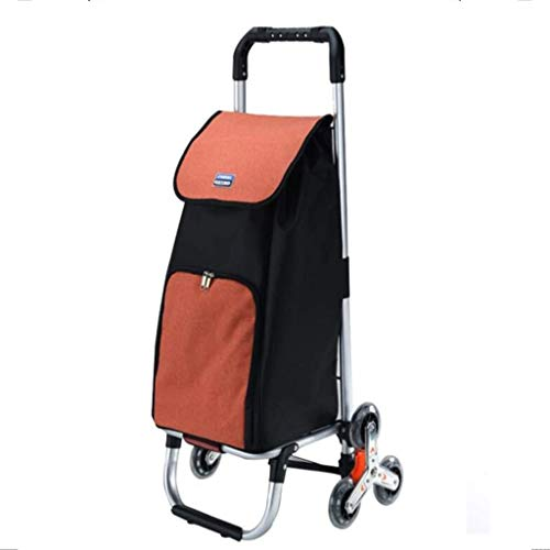 gujiu Trolley Climbing Stairs Shopping Cart/Folding Trolley, Aluminum Alloy, 44L Duffel Bag, for Home Business Travel (Orange)