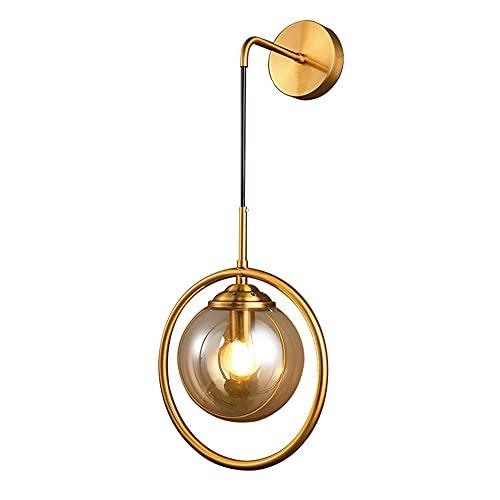 ZTKBG Lámpara de Pared Industrial nórdica, lámpara de Pared de Globo de Vidrio E27 Sconte para baño, Pasillo, Escalera, Dormitorio, Sala de Estar (Color : Amber)