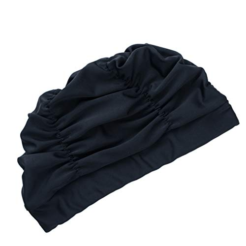 Teddy 水泳帽 スイムキャップ レディース メンズ 大人用 防水 ジム トレーニング スイミングキャップ hat068 (ブラック, フリーサイズ)