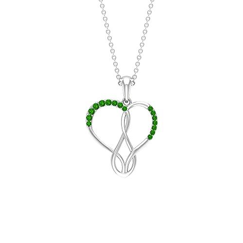 Collar con colgante de corazón infinito con tsavorita (calidad AAAA) verde