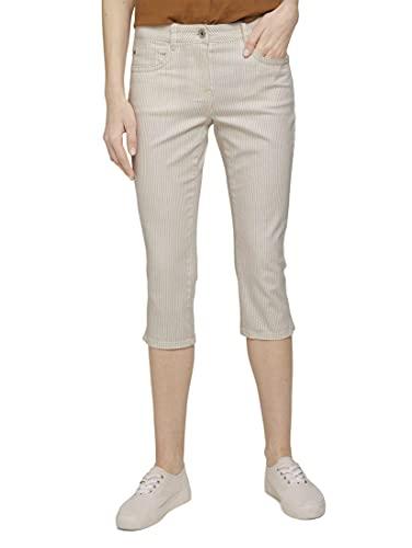 Tom Tailor 1026101 Alexa Slim Capri Pantaln, 27038 Offwhite Thin Stripe, 46 para Mujer