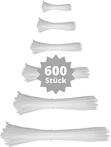 djb, extra hochwertige Profi Kabelbinder weiß-natur, Set, 600 Stück, Industrie-Qualität, Sortiment 80/100/130/160/200/300 mm