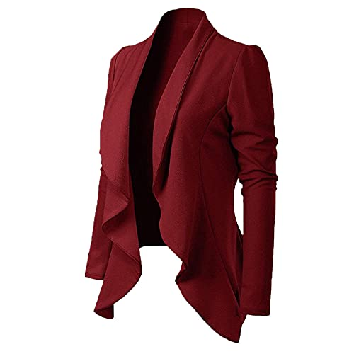 Mujeres Cardigan Abrigo de manga larga blazers y chaquetas asimétrico Casual traje de negocios Outwear