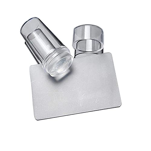 Clear Silicone Nail Stamper French Tip Nail Art Stamper Clear Silicone Stamping Jelly With Scraper French Manicure Stamping Tool for DIY Nail Art (A)