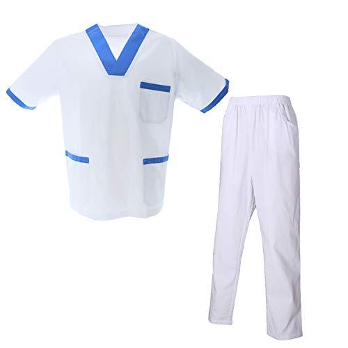 MISEMIYA - Unisex-Schrubb-Set - Medizinische Uniform mit Oberteil und Hose ref.8178 - Small, Labor Shirt 8171-2 Weiß