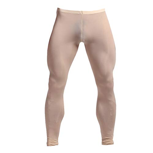 K-Men Men's Nude Yoga Leggings Long Underwear Mesh Pajama Lounge Sleep Pants XL