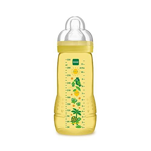 MAM A128 Easy Active - Biberón con Tetina de Silicona SkinSoftTM, Sistema auto esterilización en 3 minutos, para Bebés a partir de 4 Meses, 330ml, 1 Unidad - los modelos pueden variar