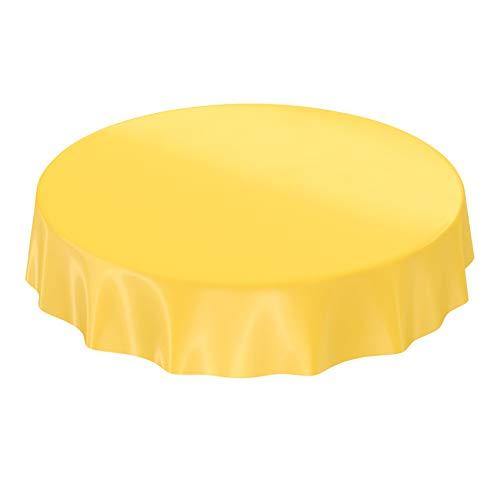 ANRO Wachstuchtischdecke Wachstuch abwaschbare Tischdecke Uni Glanz Einfarbig Gelb Rund 140cm