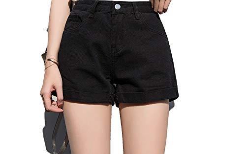 Denim Shorts Wild Fat Mm High Waist A Word Denim Wide Leg Hot Pants-Pure Black-27