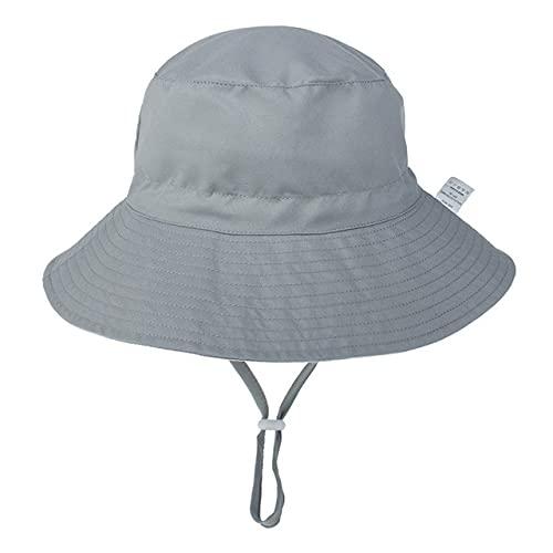 Verano bebé Sombrero para el Sol niños Gorra niños Unisex Playa niñas Sombreros de Cubo Dibujos Animados Infantil protección UV-gray-6-36 Months Baby