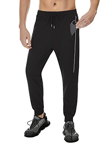 Doaraha Pantalones de Deporte para Hombre Largo Pantalón Chandál Hombre Algodón Pantalones Hombre Deportivos con Bolsillos-Negro-Tamaño M