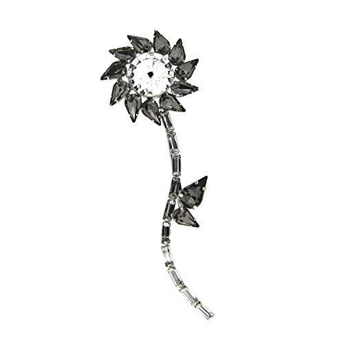 Sweet Deluxe Brosche/Klammer Flower, Silber/Black Diamond I ausgefallene Blusenbrosche für Damen & Mädchen I Frauen-Brosche für Abendkleid & Bluse I Anstecknadel