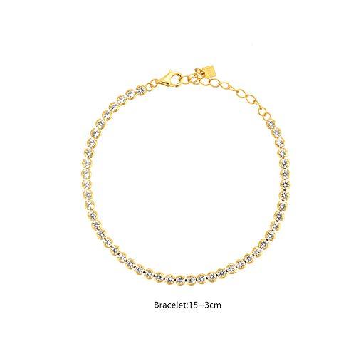 SHENSHI Collar De Mujer Plata,Collar De Cadena Larga De Gargantilla De Circonita De Oro De Plata De Ley 925, Joyería De Lujo De Boda 2021 Cadena Especial Regalo Delicado Suave, Pulsera De Oro