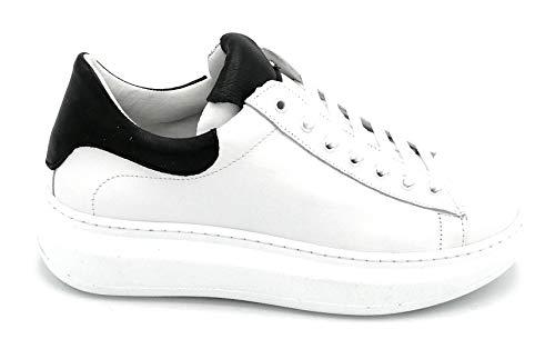 Ovye NI2547 Sneaker aus Leder, Weiß, schwarzer Rand, Größe 40 EU