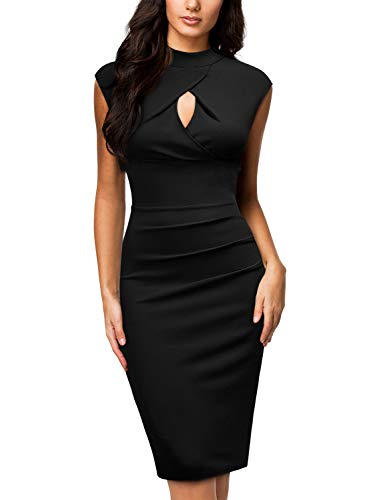 Miusol Women's Business Slim Style Ruffle Work Pencil Dress,Large,Black