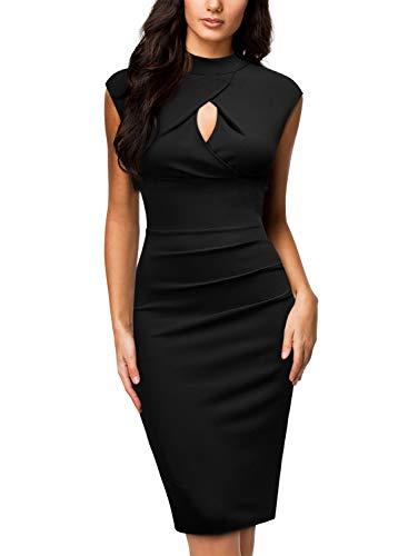 Miusol Vintage Slim Fit Coctel Vestido de Lápiz para Mujer Negro Small