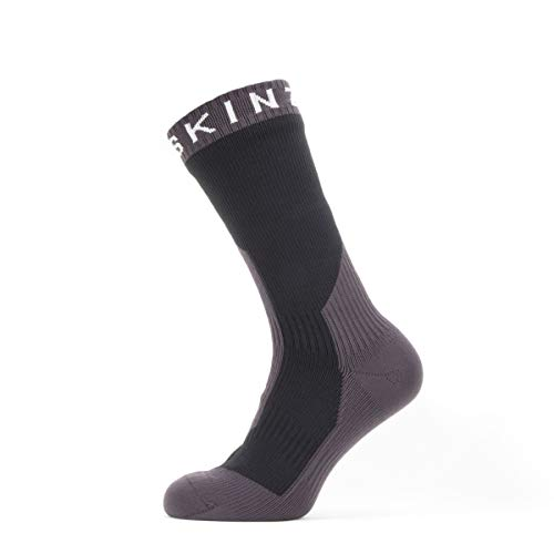 SealSkinz Unisex Waterproof Extreme Cold Weather Mid Length Sock, Black / Grey / White, L