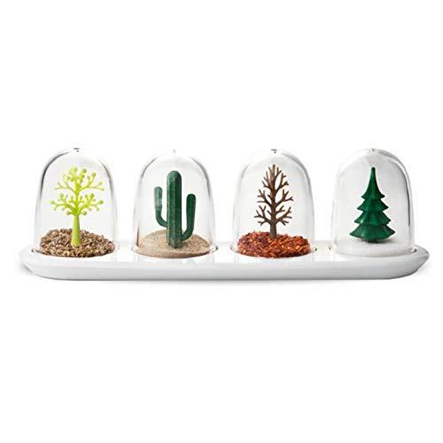 CCMOO 4 stks kruiden doos potten planten en dier schattig keuken specerij opslag fles zout peper komijn poeder gereedschap