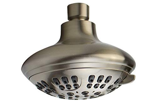 XOGOLO 6 Settings Shower Head, Luxuary Bathroom Overhead Showerhead for Multi-Function Bath Experience, Brushed Nickel, ABS - 4, Ideas for Hotel/Motel/Home