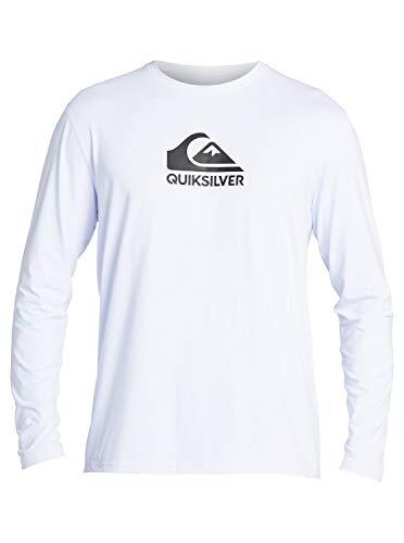 Quiksilver Men's Solid Streak Long Sleeve Rashguard UPF 50 Sun Protection Surf Shirt, White, X-Large