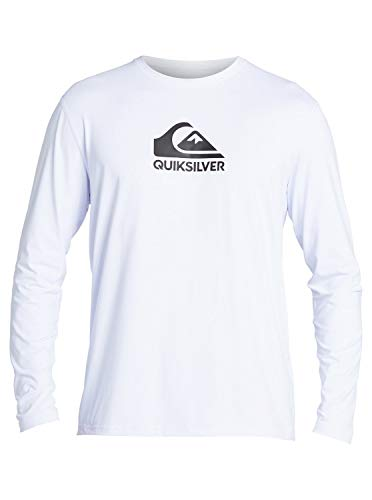 Quiksilver Men's Solid Streak LS Long Sleeve Rashguard SURF Shirt, White, L