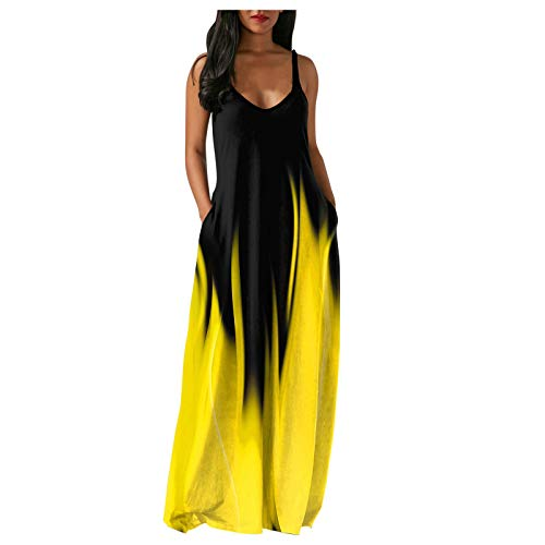 Women's Loose Tie dye Maxi Dresses Casual Long Dresses with Pockets Women's 50s 60s Vintage Sleeveless V-Neck Cocktail Swing Dress Patchwork Dress Summer Black M