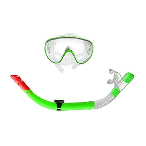 MMI-LX Impermeables Gafas de natación Buceo máscara de respiración Tubo de Snorkel Set Accesorios for Piscinas Lago Bay Deportes de Aventura Diver (Color : Green)