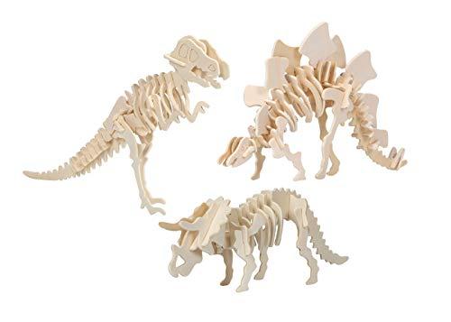 ほうねん堂 恐竜 骨格 模型 玩具 木製 組立 キット ティラノサウルス ステゴサウルス トリケラトプス 3点 ...