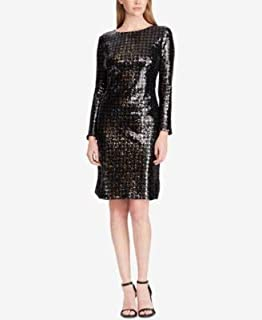 RALPH LAUREN Womens Black Sequined Houndstooth Long Sleeve Boat Neck Above The Knee Sheath Cocktail Dress US Size: 8