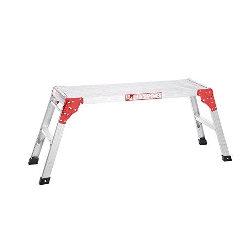 iKayaa Pieghevole in Alluminio Scala Lavoro Piattaforma Hop Up Panca Passo Scaletta 225LB capacità di Lavoro