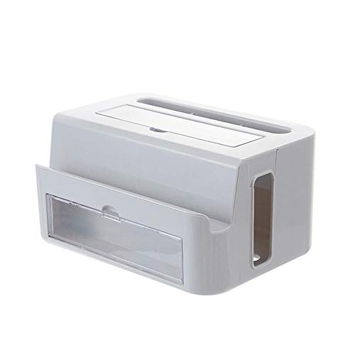 Multipurpose Desktop Storage Box Power Cord Finishing Box Stationery Pen Barrel Storage Box-Gray